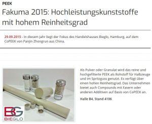 Plastverarbeiter publishes about BIEGLO in 2015